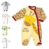 Baby Sweets Baby Strampler für Mädchen und Jungen/Baby-Overall in Gelb Braun Rot als Schlafanzug und Babystrampler im Giraffen-Motiv für Neugeborene und Kleinkinder in der Größe: Newborn (56)