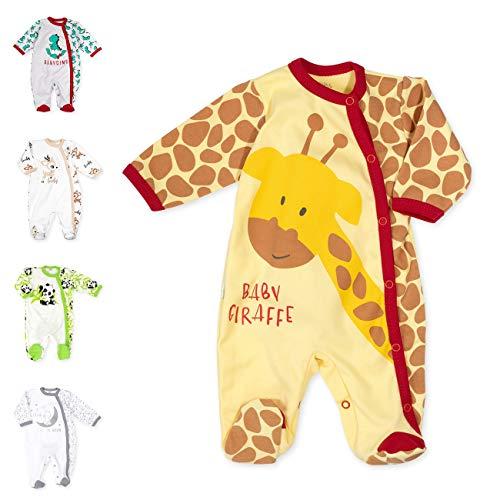 Baby Sweets Baby Strampler für Mädchen und Jungen/Baby-Overall in Gelb Braun Rot als Schlafanzug und Babystrampler im Giraffen-Motiv für Neugeborene und Kleinkinder in der Größe: 6-9 Monate (74)