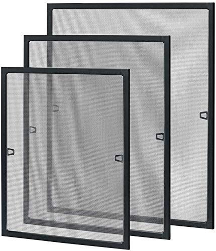 UISEBRT Insektenschutz Fliegengitter Fenster mit Alurahmen - Fliegenschutzgitter Mückengitter ohne Bohren und Schrauben, 80×100cm, Anthrazit