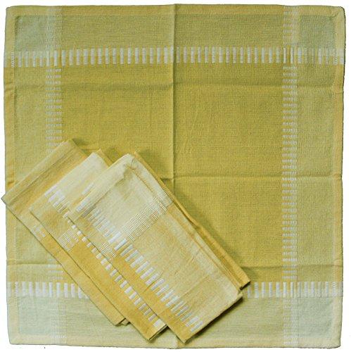 KH-Haushaltshandel - Servilletas de Tela (4 Unidades, algodón, 40 x 40 cm, a Cuadros), Surtido, Tejido, Tela, Amarillo, 40 x 40 cm