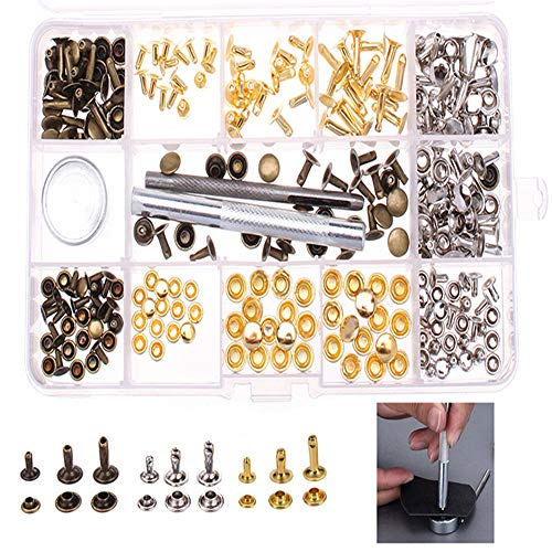 ExcLent 138Pcs Single Cap Rivets Tubular Studs Fixing Tool For Leather Craft Tool