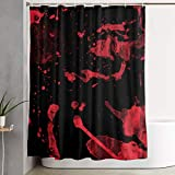 NiYoung Water-Repellent Polyester Shower Curtains 12 Hooks Included - Extra Long - Classic Horror Blood Splatter Black Red Window Curtain Bathroom Accessories