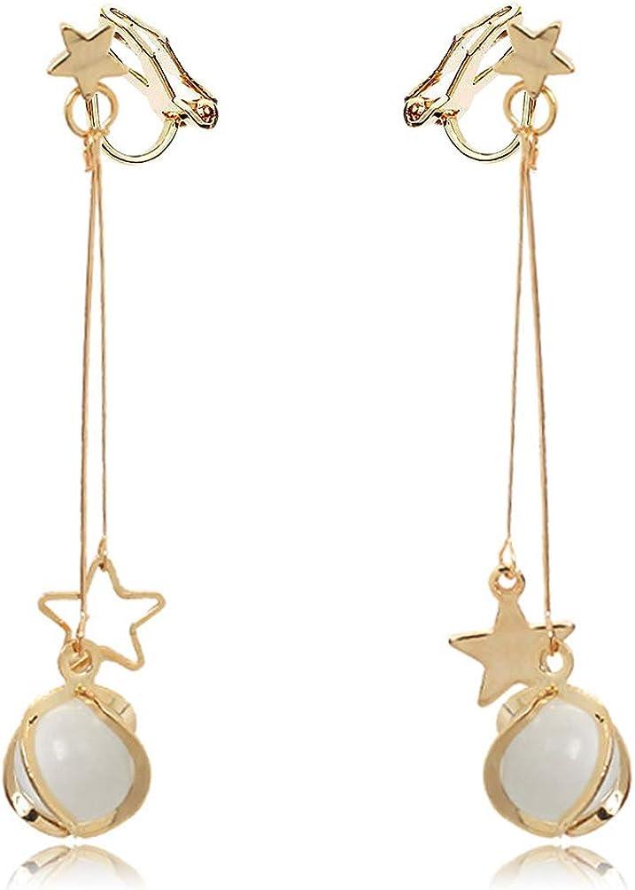Star Created Opal Clip on Dangle Earrings no Pierced Soft Pads Beaded Long Tassel Drop Gold Plated Women