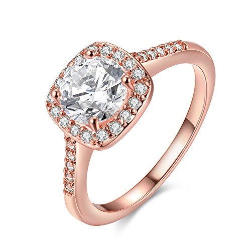 Uloveido Sparky Cubic Zirconia CZ Crystal Engagement Promise Rings Anniversary Wedding for Lady Girl (Rose Gold, Size 17) KR002