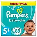 Pampers Baby-Dry Windeln, Gr. 5+, 12kg-17kg, Dreier-Pack (1 x 88 Windeln)