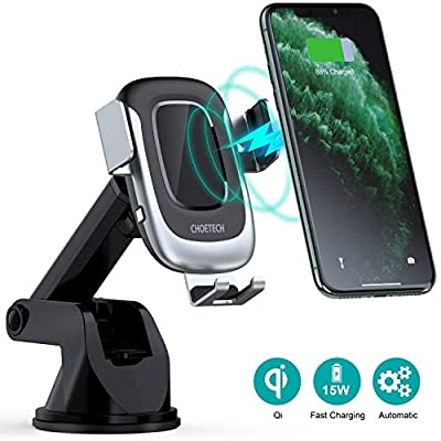 CHOETECH 15W Wireless Car Charger Mount,15W/10W/7.5W Windshield Dash Vent QI Fast Charging Phone Holder Electric Auto Clamping Compatible with iPhone 11/XR/XS/8+,Galaxy S10/S9/S8,HUAWEI P30Pro,LG V30