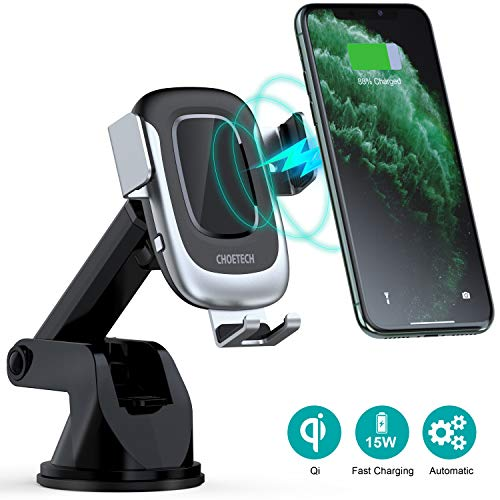 CHOETECH Wireless Car Charger,15W USB C Qi Fast Charging Auto-Clamping Car Mount, Windshield Dashboard Phone Holder Compatible iPhone 11/11 Pro Max/XS Max,iPhone SE, LG V30/V35/V40,Galaxy S20/Note 10
