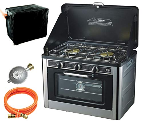 NJ CO-01 Gas Backofen Gaskocher 2 flammig Campingkocher mit Deckel Gasgrill Gasherd Ofen + Gasschlauch-Regler Set