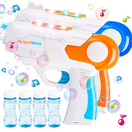 HEEKU 2 Bubble Guns with 4 Bottles Bubble ( 7 oz Total ) Music and Light Bubble Machine for Bubble Blaster Party Favors, Summer Toy, Outdoors Activity, Birthday Gift Bubble for Toddler and Kids