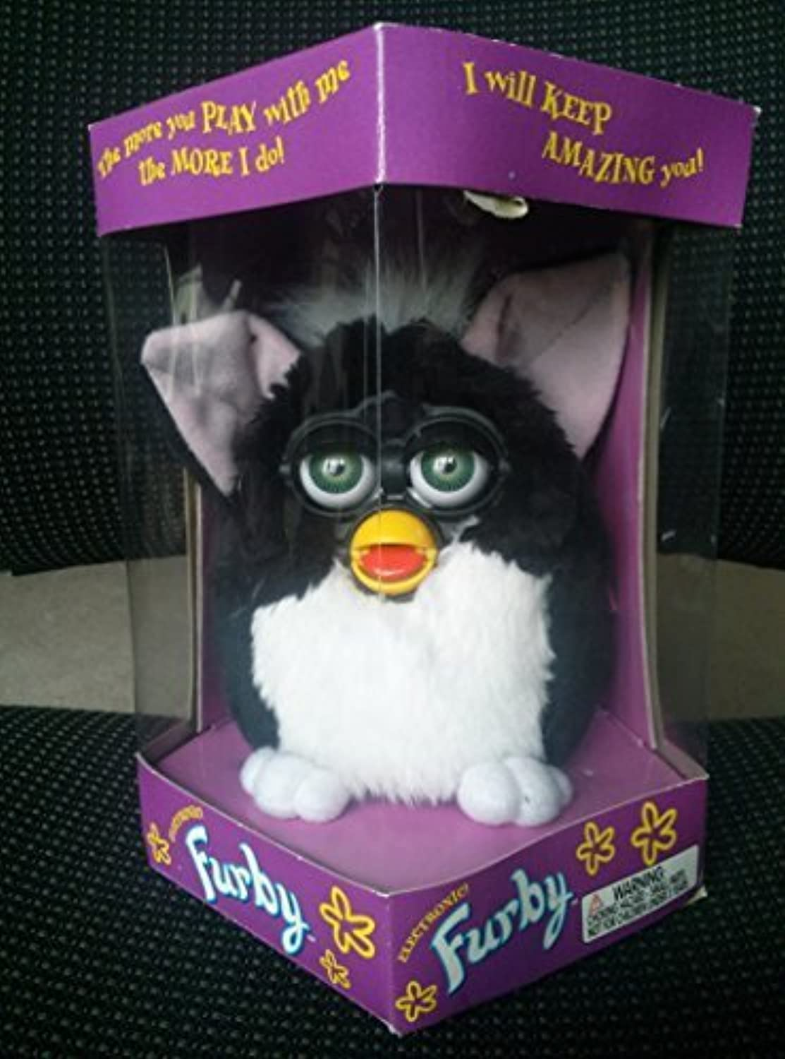 Furby - Black with White Tummy and Green Eyes - Model 70-800 by Tiger Electronics