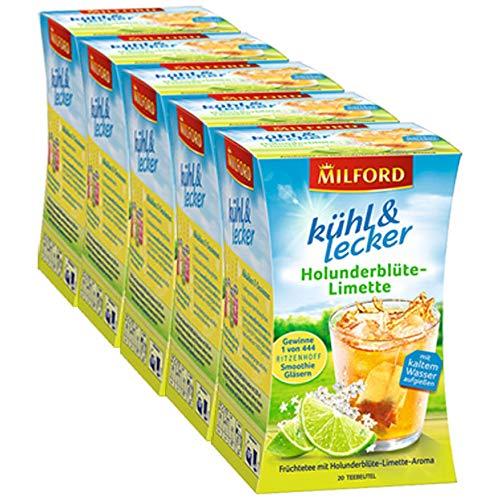 Milford kühl & lecker Holunderblüte-Limette, 20 Teebeutel 5er Pack