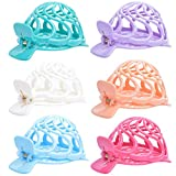 RC ROCHE ORNAMENT 6 Pcs Womens Shell Dome Round Circle Stylish Plastic Strong Grip Hinge Side Slide Bun Maker Clips Girls Beauty Accessory Hair Clip, Medium Pastel Multicolor