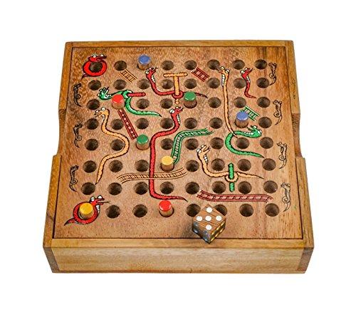 LOGOPLAY Schlange & Leiter - Würfelspiel - Gesellschaftsspiel - Brettspiel aus Holz