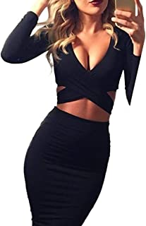 Memorose Womens Sexy Long Sleeve Cut-Out Bandage Bodycon Clubwear Midi Dress 9d6318fe41bf
