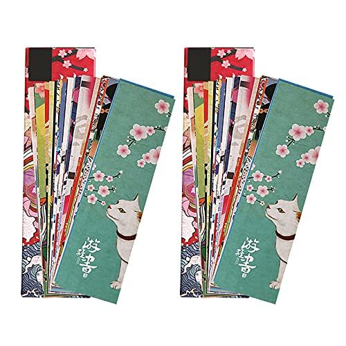 Fyfjur 30pcs / Bag Segnalibri, Segnalibro di Carta in Stile Vintage Giapponese, Segnalibri Vintage, Segnalibri Creativi, per Libri per Studenti Scolastici (2 in 1)