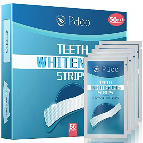 (56 Pack) Pdoo Teeth Whitening Strips Teeth Whitening Kit, 28 Treatments Teeth Whitener for Tooth Whitening (56 Strips), Sensitivity Free, Helps to Remove Smoking, Coffee, Wine Stains