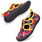 GLOBTOUCH Boys Girls Water Shoes Toddler Breathable Running Sneakers Sandals Pool Beach Athletic Slip on Aqua Sock-Army pink-24