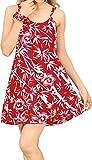 LA LEELA Vestido de Cambio Verano de Las Mujeres de Bohemia de la Vendimia Estilo étnico Rojo_Z36 M