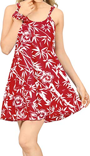LA LEELA Vestido de la Playa de oscilación Hawaiano Campamento del Grupo Aloha Las Mujeres Mini Rojo_Z36 XL
