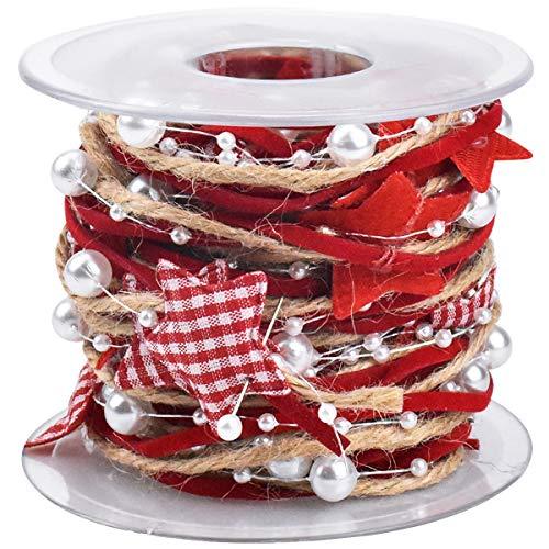 HQdeal 5M Weihnachtsbaum Fünfeckige Sterne Perle Band, Weihnachten Handgemachte Dekorative Band für Hochzeit Geburtstags Dekoration Geschenkverpackung Handwerk