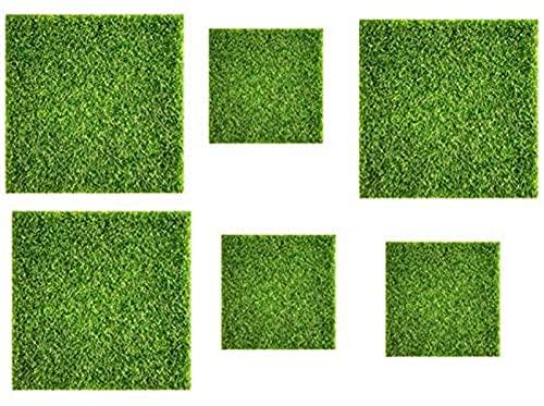 ZCYY Artificial turf, Artificial Grass 6 Pieces Of Artificial Turf, Miniature Garden Decoration Artificial Floor 15X15cm / 30X30cm