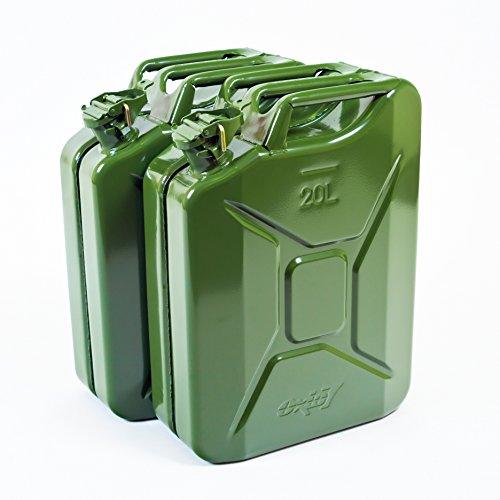 Oxid7 2X Benzinkanister Kraftstoffkanister Metall 20 Liter Olivgrün mit UN-Zulassung - TÜV Rheinland Zertifiziert - Bauart geprüft