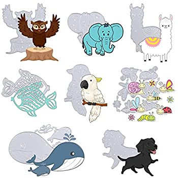 Whale Cutting Dies Stencils Elephant Cutting Die Frame Parrot Die Cuts Fish Owl Dog Metal Template Mould New Animal Dies Cut for DIY Decorative Embossing Photo Album Card Making,Scrapbooking Supplies