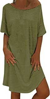 iNoDoZ Women's O Neck Casual Solid Above Knee Short Sleeve Loose Party Mini Dress