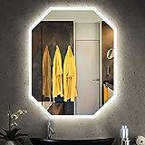 FMOGE Espejos De Tocador Montados En La Pared con Luces Espejo De 700X900 Mm, Octogonal Led Iluminado, Espejo De Lámpara De Maquillaje Sin Marco, Dormitorio/Hotel/Sala De Estar