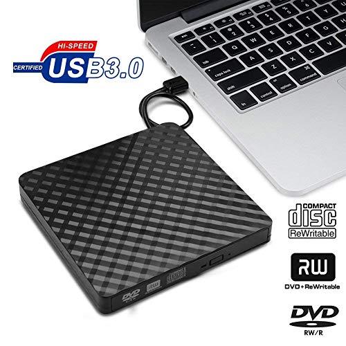 Rwen CD-DVD-Laufwerk, Außen Optisches Slim-Laufwerk, Brenner Writer Optical Für Unterstützt Windows 10/8/7 / XP/Mac Os Laptop/Desktop/PC