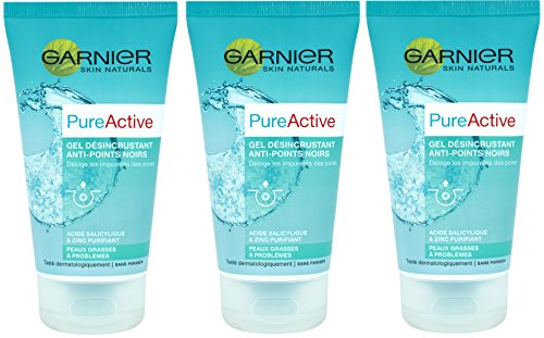 Garnier Pure Active Gel Désincrustant Anti-points Noirs 150 ml - Lot de 3