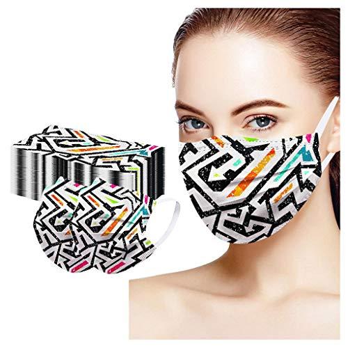 Eaylis 50 Stück Mundschutz Einweg 3-lagig Atmungsaktiv Face Cover, Accessory Schutz, Outdoor Anti-Staub Bandana Loop(Orange)