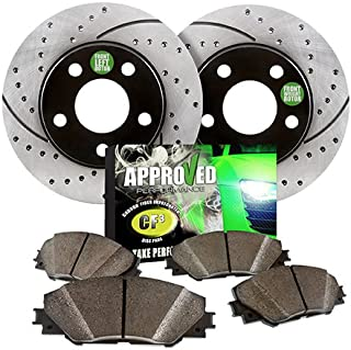 Approved Performance Front Brake Kit Performance Drilled and Slotted Brake Rotors with Ceramic Pads