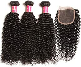 Nadula 8A Unprocessed Brazilian Curly Virgin Human Hair with Free Part Lace Closure Pack of 4 Remy Human Hair Natural Color (16 18 20+10closure)
