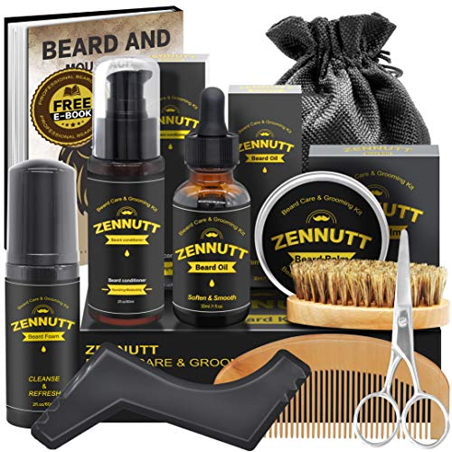 Beard Growth Kit,Beard Kit,Beard Grooming Kit w/Free Beard Conditioner,Beard Growth Oil,Beard Balm,Brush,Comb,Scissor,Storage Bag,E-Book,Beard Care & Trimming Kit,Best Gift Set