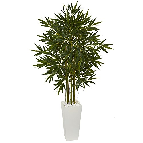 Nearly Natural 6' Bamboo Artificial Tree in White Tower Planter 6, Green
