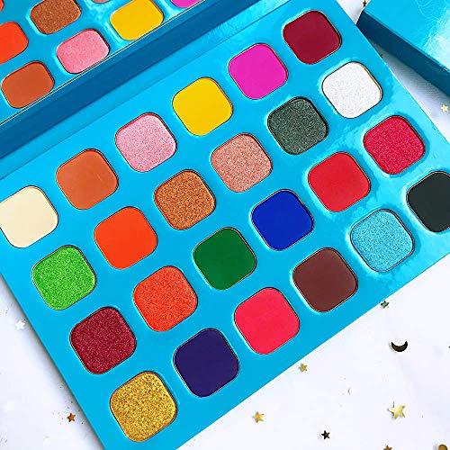 Colorful Bright Eyeshadow Palette Rainbow 24 Color Eyeshadows Metallic and Shimmers Halloween Makeup Pallet Highly Pigmented Powder Long Lasting Waterproof Eye Shadow
