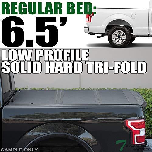 Topline Autopart Low Profile Tri Fold Hard Plastic Truck Bed Tonneau Cover For...