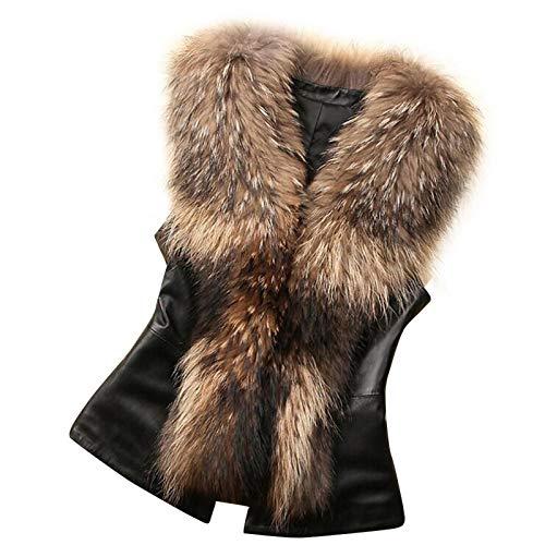 Women's Faux Fur Vest Jacket,Memela Womens Sleeveless Winter Warm Waistcoat Gilet Casual Slim Furry Overcoat Outwear Coat Brown