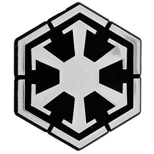 SW Sith Logo Plastic Auto Emblem - [Silver][3'' x 2 3/4'']