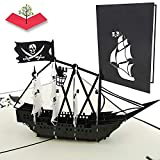PopLife Cards Tarjeta del popup del barco del día del padre del pirata negro todas las ocasiones el día del padre, feliz cumpleaños, graduación, retiro, aniversario, cazadores del tesoro, piratas