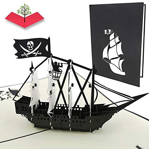 PopLife Cards Tarjeta del popup del barco del día del padre del pirata negro todas las ocasiones el día del padre, feliz cumpleaños, graduación, retiro, aniversario, cazadores del tesoro, pira