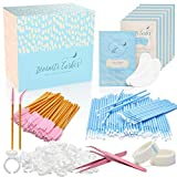 Eyelash Extension Supplies - 100 Glue Ring Holder | 100 Disposable Mascara Brushes Wands | 100 Micro Applicators Brush | 100 Pairs Under Eye Gel Pads | 2 Medical Tapes - Lash Extension Supplies