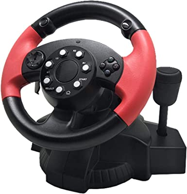 Heilsa FT33 Racing Wheel, 220 Degree Racing Steering Computer Game Steering Wheel with Responsive Pedals