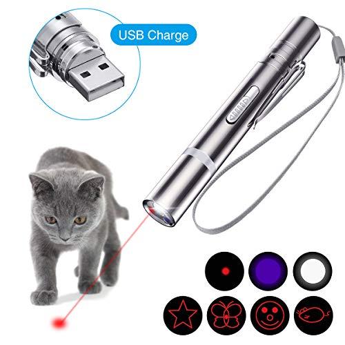 OUTERDO LED Pointer, LED Pointer USB wiederaufladbar Haustier Interaktives Spielzeug und eine Sisalmaus für Katzen