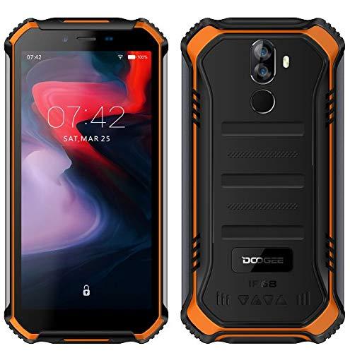 "DOOGEE (3GB+32GB) Robustes 4G Android 9,0 Handy ohne Vertrag,5,5\"" HD (Gorilla Glass 4) IP68 Outdoor wasserdichtes Telephone DUAL SIM Militär Smartphone, 4650mAh Akku, Quadcore NFC - Orange"