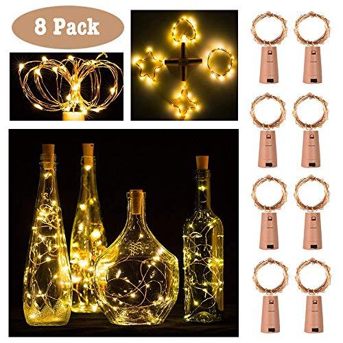 20LED bottiglia di vino sughero luci filo di rame stringa di luce, 2m/2,2m a batteria luci natalizie per bottiglie di vino bottiglia fai da te, Natale, matrimonio e festa Décor (8confezioni)