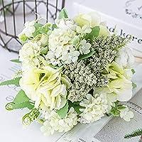 AMOZ 造花植物バラの花-アレンジメントウェディングブーケプラスチックフローラルテーブルセンターピースホームキッチンガーデンパーティーの装飾,緑