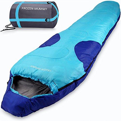 Mountaineer Frozen Mummy Schlafsack Mumienschlafsack Deckenschalfsack mit Kapuze - Leicht mit kompakter Tragetasche - Farbe Dunkelblau/Dunkelrot