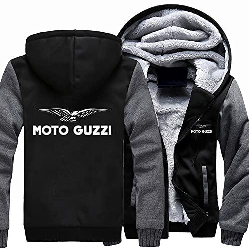 Chaquetas de manga larga con cremallera para hombre - Moto Guzzi Unisex Abrigos Gruesos Otoño Invierno Cálida Cárdigan Pesado Sudadera con Capucha - Adolescentes